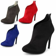 New Ladies Stiletto High Heel Ankle Zip Up Party Evening Bootie Shoes Size 3-8