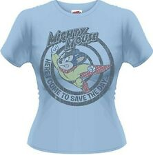 Mighty Mouse Save The Day 80s Print Official Ladies Skinny T-Shirt Var Sizes