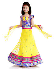 DotnDitto Blue-Yellow Net Lehnga-Choli set