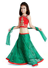 DotnDitto Green-Red Lehanga Choli