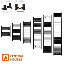 600mm Wide Heated Towel Rail Radiator Black Designer Rad Rack Warmer Straight UK