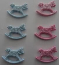 6 Baby Rocking Horses Pink and Blue Card and Craft Embellishment