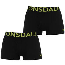 Mens Lonsdale Black Lime Boxer Shorts Trunks Cotton Underwear 2 pack M L XL 2XL