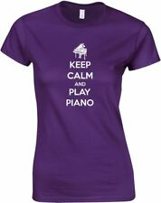 Keep Calm and Play Piano, Ladies Printed T-Shirt