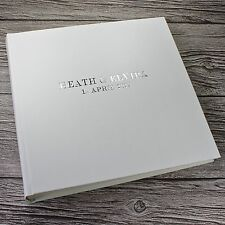 "Personalised white leather wedding photo album - the 'Loach' 12.5"" x 12.25"""