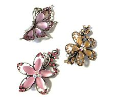 Pretty Vintage Look Hair Clip Grip AB Jewelled Crystal Diamante Flower Butterfly