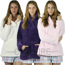 Ladies Coral Soft Snuggle Fleece Luxurious Warm Top Collar Jumper Warm Pockets