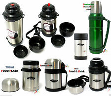 STAINLESS STEEL HOT N COLD VACUUM THERMAL FOOD FLASK TEA COFFEE FOOD & DRINK