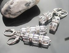 Square Crystal and Silver Beads 925Silver Earrings made with Swarovski Elements