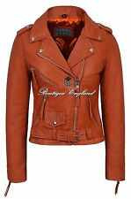 'CLASSIC BRANDO Ladies Orange Biker Style Motorcycle Cruiser Hide Leather Jacket