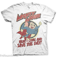 MIGHTY MOUSE SAVE THE DAY  T-Shirt  camiseta cotton officially licensed