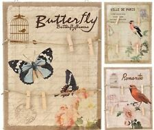 Memo board Hessian Butterfly Birds Flowers with wooden pegs Home Decor Gift