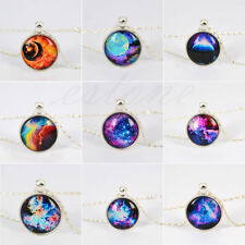 Fashion Silver Plated Universe Pendant Glass Dome Cabochon Necklace N-1