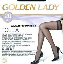 10 Paia di Autoreggenti donna Golden Lady con sotto bordo ricamato art Follia 20