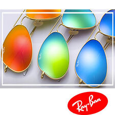 "Ray Ban RB3025 Large Aviator Sunglasses Gold Frame ""Polarized"" Mirror Lens New"