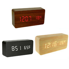Voice Control Rectangle Wood LED Alarm Digital Desk Clock Wooden Thermometer USB