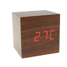 Voice Control Cube Wood Wooden LED Alarm Digital Desk USB/AAA Clock Thermometer