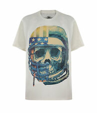 NEW BIG SIZE SKULL T-SHIRT CREAM WHITE GUN GREY BLACK ROCK BIKER 2XL 3XL 4XL 5XL