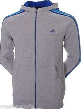 adidas boys grey ess 3 stripe zip up hoodie. Sweat top.Track top. Various sizes
