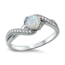 Twisted White Opal CZ, Classic Simple Design, Trendy, Girly, Mom, Glitzy, 925