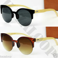 New Part Rimless Cats Eye Wood Bamboo temples Sunglasses
