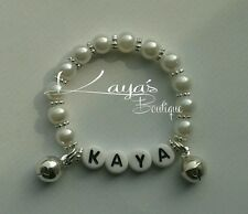 Baby reborn pearl jingly bracelet wrist rattle, wedding party gift personalised