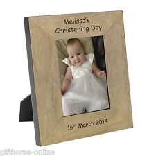 'Christening Day' Personalised Oak Veneer Wooden Photo Frame - 2 Sizes 4x6 & 5x7