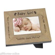 'Baby Girl' Personalised Oak Veneer Wooden Baby Photo Frame - 2 Sizes 4x6 & 5x7
