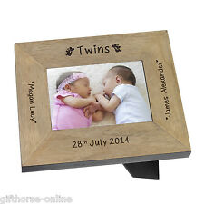 Personalised 'Twins' Oak Veneer Wooden Baby Photo Frame - 2 Sizes 4x6 & 5x7