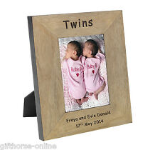 'Twins' Personalised Oak Veneer Wooden Baby Photo Frame - 2 Sizes 4x6 & 5x7