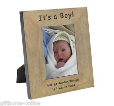 'It's a Boy!' Personalised Oak Veneer Wooden Photo Frame - 2 Sizes 4x6 & 5x7
