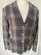 Adini 100% Cotton seersucker check jacket long sleeves button front lined body