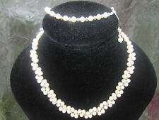Cream Gold Silver Pearl 925 Silver Necklace Bracelet Set with Swarovski Elements