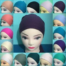 Women  Hijab Under Scarf Tie Back Bonnet Bone Cap Chemo Hat More than 20 Colours