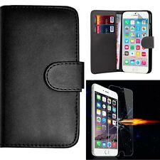 Flip Wallet Case Cover & Tempered Glass For iPhone 6/ 6s /6 Plus/ 7/ 7 Plus