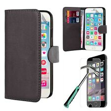 Tempered Glass + PU Leather Flip Wallet Case Cover For Apple iPhone 6 / 6 Plus