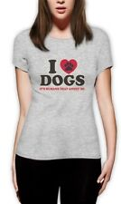 I Love Dogs It's Humans That Annoy me Funny Women T-Shirt Pet Puppy Animal Heart
