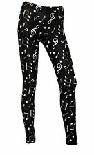 Women's Unique Musical Notes Symbols All Over Printed Fashion Leggings Size 8-22