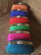 HARD CLUTCH BAG TEAL BLUE ORANGE PINK RED TURQUOISE GREEN WHITE PROM EVENING