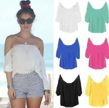 Women Sexy Solid Chiffon Off-shoulder Loose Tops Casual T-Shirt Blouse Summer