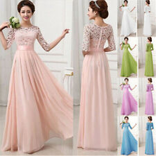 New Women Formal Lace Prom Ball Wedding Long Maxi Dress Bridesmaid Evening Gown
