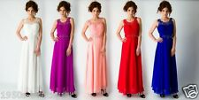 Long  Evening Bridesmaid Formal Party Prom Wedding Dress Ball Gown UK Seller
