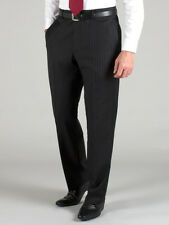 Men's Formal Non Pleated Trouser, Blackish Blue with Self Stripe,