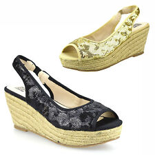 Ladies Womens Wedge Heel Espadrille Chunky Platform Peep Toe Sandals Shoes Size