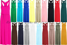 NEW WOMEN'S LADIES MAXI TOGA LOOK LONG DRESS PUFF BALL RACER BACK All SIZE 8-24