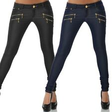 Damen Röhre Jeans-Look Hose Leggings Leggins Jeggings Treggings Skinny No 13302