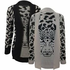 Leopard Face Print Graphic Knitted Cardigan Soft Warm Knit Tiger Jungle Open