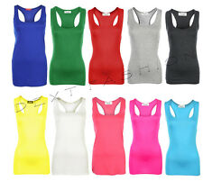 LADIES SLEEVELESS RACER MUSCLE BACK BODY-CON  TOP GYM YOGA VEST PLUS 8 - 26