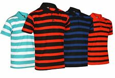 NEW MENS STRIPED POLO T SHIRT SHORT SLEEVE REGULAR FIT CASUAL SIZE S-3XL