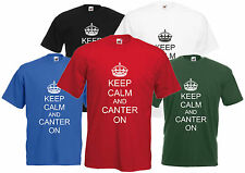 Keep Calm And Canter On T-Shirt Equitazione Unisex Maglietta Uomo Donna Ragazza